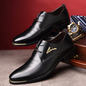 Men's Classic Pointed Toe Dress Patent Leather Shoes Oxford