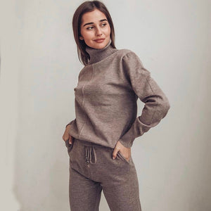 turtleneck pullovers and long knitted pants