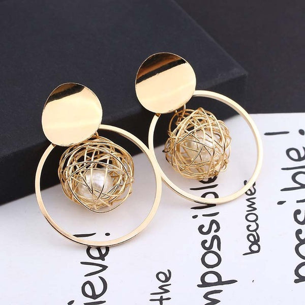 LATS 2020 New Fashion Hoop Earrings With Rhinestone Circle Earring Simple Earrings Big Circle Gold Color Loop Earrings For Women