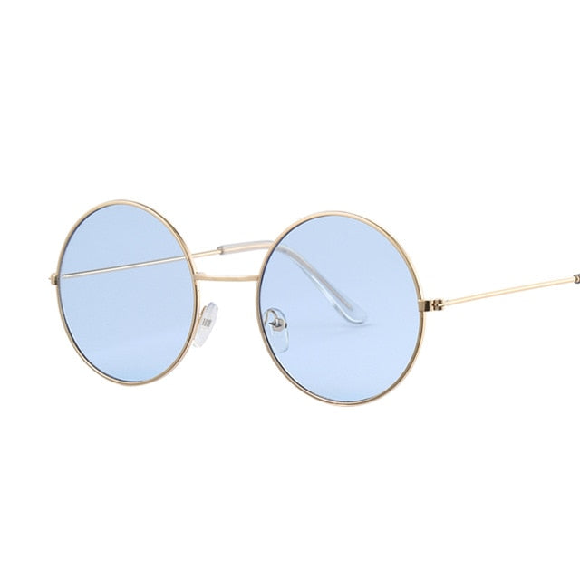 Vintage Round Sunglasses Women Ocean Color Lens Mirror Sunglasses Female Brand Design Metal Frame Circle Glasses Oculos UV400