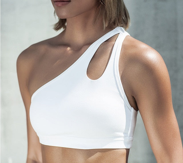 Sexy One Shoulder Oblique Sports Bra