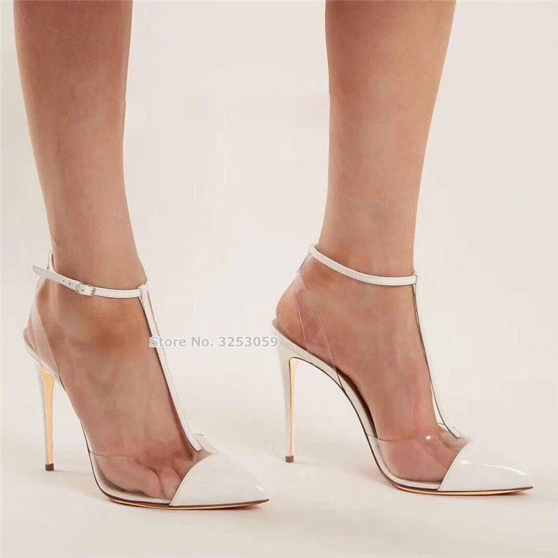 ALMUDENA White Black Patent Leather T-strap PVC High Heel Shoes Pointed Toe Stiletto Heels Patchwork Dress Pumps Slingback Shoes