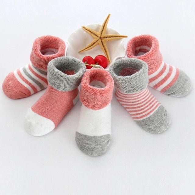 5 Pair/lot new cotton thick baby toddler socks autumn and winter warm baby foot sock