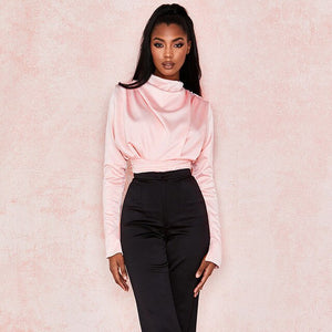 Black Pink Satin Backless Mock Neck Bodysuit Women Tops Spring 2020 Fashion Long Sleeve Party Club Bodysuits Solid Streetwear