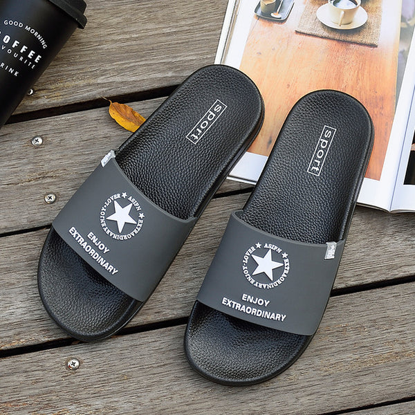 Men Slippers Summer Beach Non-slip Male Slides Sports Women Sandals Soft Female Home stars Flip Flops Outdoor Indoor Man