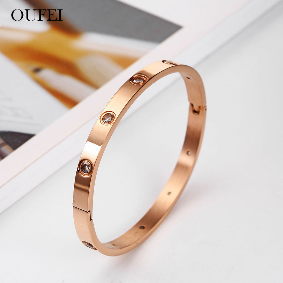 Stainless Steel Bracelet Rose Gold  Women Bracelets Crystal Bangles For Women Bohemian Fashion Jewelry Love Valentines Day Gift