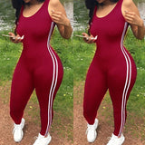 Women Side Striped Sports Jumpsuit