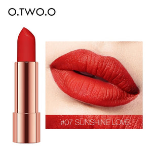 O.TWO.O Matte Lipstick Nude Brown Red Lips Makeup Velvet Silky Smooth Texture Long Lasting Waterproof Lip Stick 12 Colors