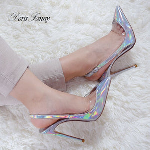 Women  Classic big size sexy stiletto silver high Heels Slingback shoes
