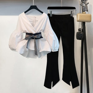 Lantern Sleeve Blouse Shirt Women 2020 Fashion Korean Style Summer Bow V-neck Striped Shirt Elegant Ladies Tops Female Clothing