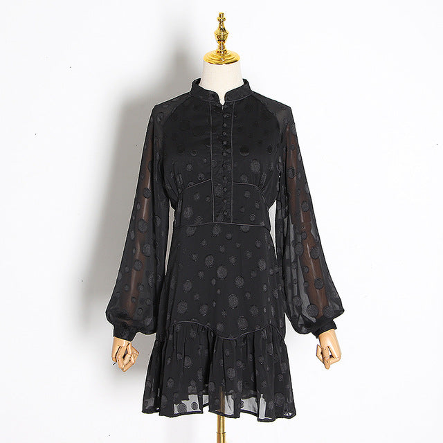 Women's  Vintage Dress Lantern Long Sleeve Stand Collar Single Breasted