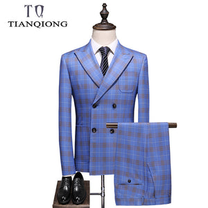 Men's Suits Slim Fit Double Breasted Plaid