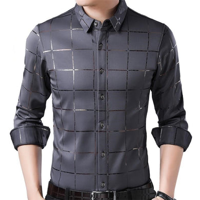 Men Luxury Plaid Long Sleeve Slim Fit Shirt