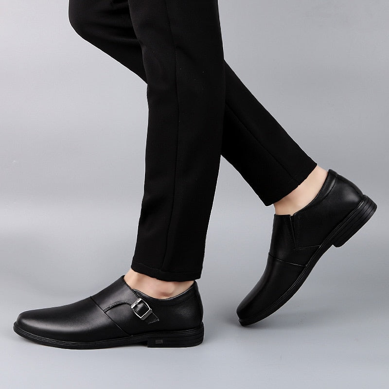 Genuine leather Men Monk Shoes