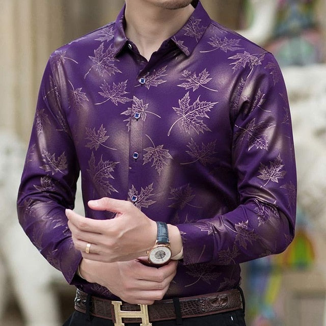 2020 New Social Long Sleeve Slim Fit Maple Leaf Designer Smen shirt