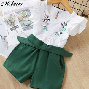 Girls New Summer Flower Printing Vest+Pants