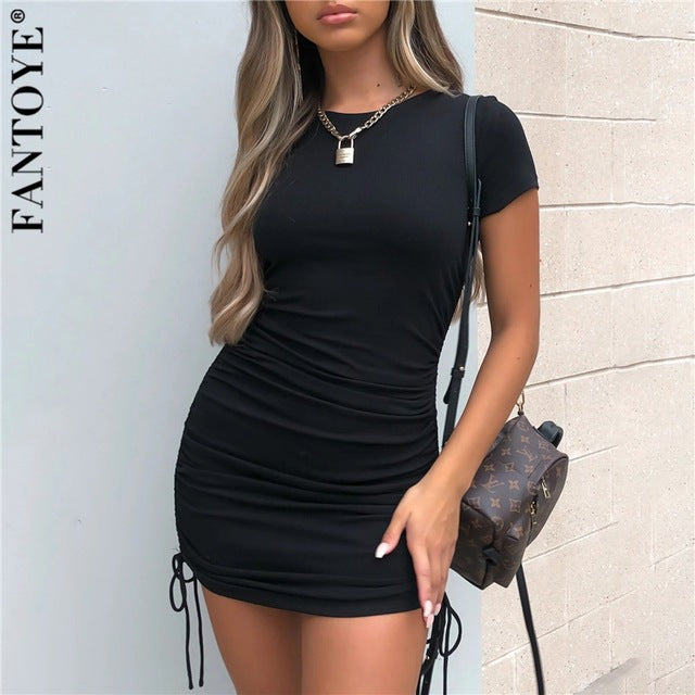 Women Bodycon Dress Sexy Short Sleeve Skinny Summer 2020
