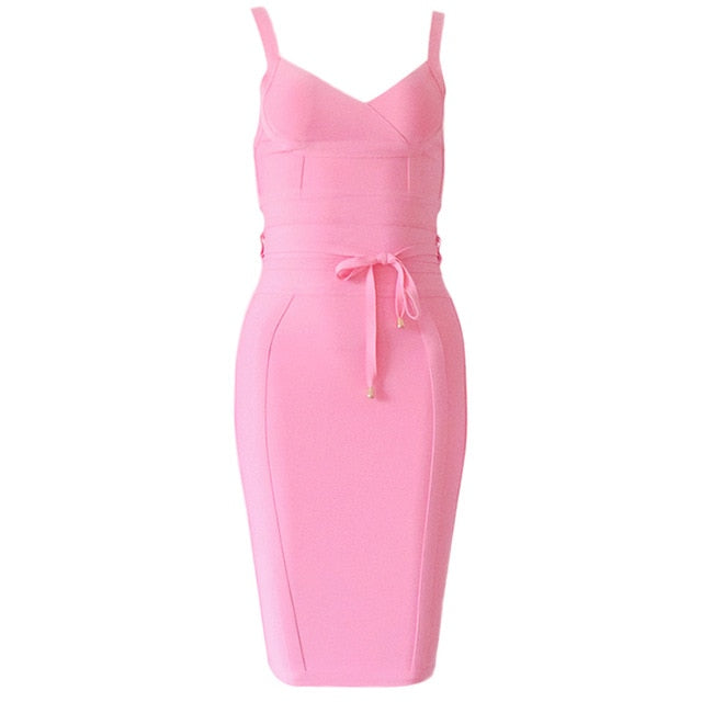 Women Spaghetti Strap Belt Sashes V Neck Club Dress Sexy Bodycon