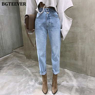 Vintage High Waist Straight Jeans for Women Streetwear Loose