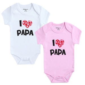 Love Papa Mama Design Baby Rompers