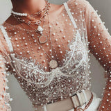 Sexy See Through Thin Tulle Blouses with Beading Long Sleeve  Tops Transparent Mesh Female Ladies Fashion