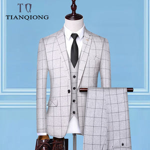 Men's Formal Suits Set Casual Business Three-piece
