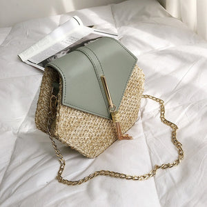 Casual Chains Straw Bucket Bags Women Summer Messenger Bag Rattan Bags Beach Lady Travel Purses and Handbags Shoulder Bag Bolsa