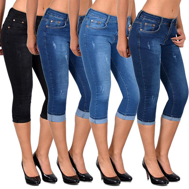 Knee Length Denim Capri Pants