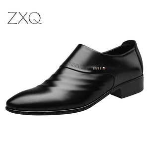 Wedding pointed men's leather shoes