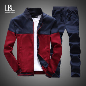 Mens Clothing 2 Pieces Sets Slim Tracksuit