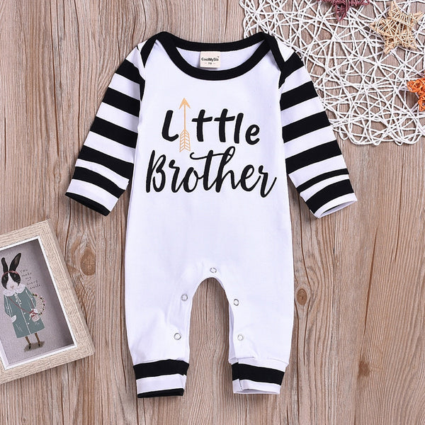 Spring Autumn Newborn Baby Girls & Boys Romper Letter Stripe Long Sleeve Cotton
