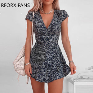 Women V-neck Floral  Short Sleeve Mini Dress  Elegant Bodycon Sexy Casual  Dress