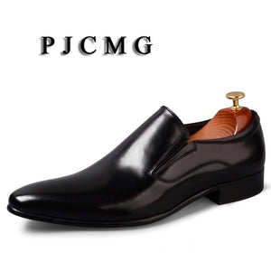 Men's Genuine Leather Pointed Toe Slip-On Dress Black/Red Business Flats Shoes