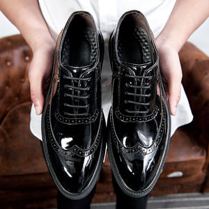 Men Casual  bullock patent leather shoes black oxford