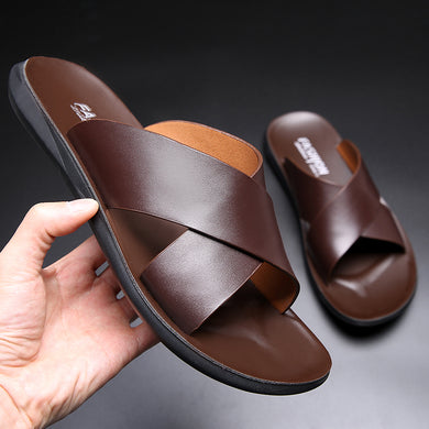 Men Summer  Vintage Italian Flats Casual  Genuine Leather Flip Flop Slippers
