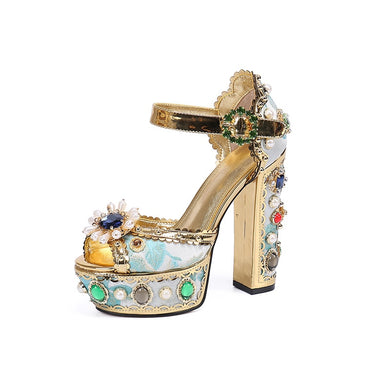 Women Summer Leather women sandals gold roman square heel pearl