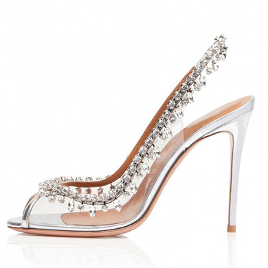 High Heel Slingbacks with Crystal Silver Transparent Pumps Summer Shoes