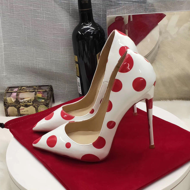 Women shoes bride patent leather red spots sexy stiletto high heels pumps