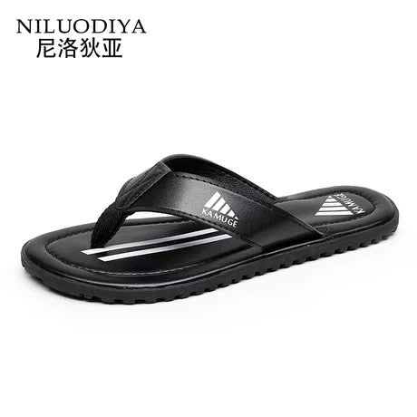 Men Casual Summer  Leather Slipper Flip Flops