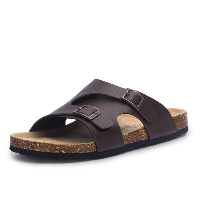 Men Summer Cork Slipper Sandals Casual Beach Mixed Color Slides Shoe Flat With plus size 35-45