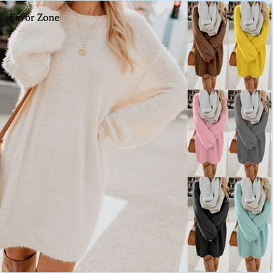 Women Plush Fleece Warm Midi Dress