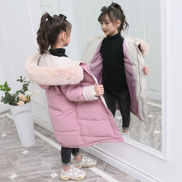 2020 Fashion Children Winter down cotton Jacket Girl clothing Kids clothes Warm Thick parka Fur Collar Hooded long Coats 3-14Y
