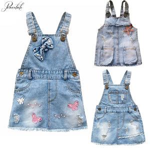 1-5 Years Baby Girls Rompers Jumpsuit Denim Strap Skirt
