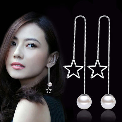 Women silver Pearl long earring