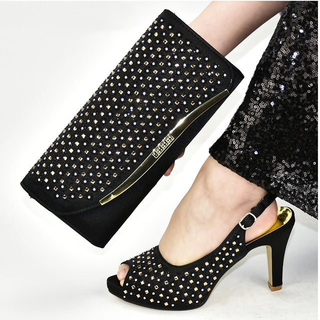 High Heel Women Shoes and Bag Matching Set