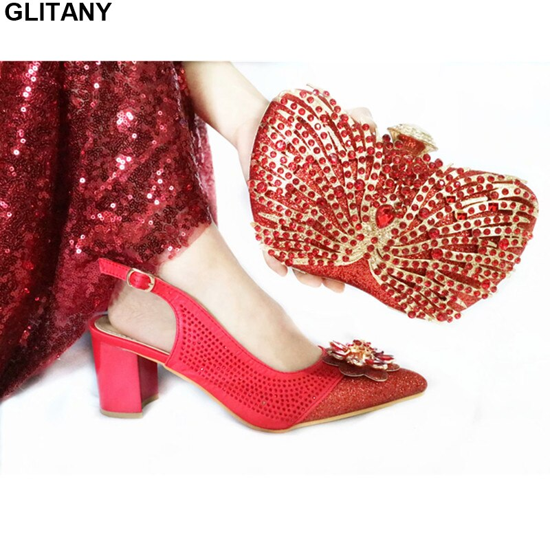 Women High Heel Shoes and Bag Matching Set