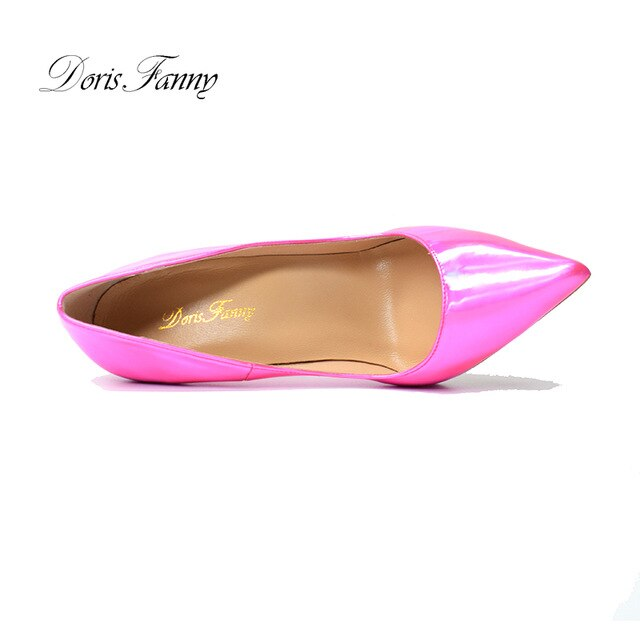 Doris Fanny pointed toe Pink patent leather high heels sexy stiletto women's shoes elegant large size woman pumps shoes