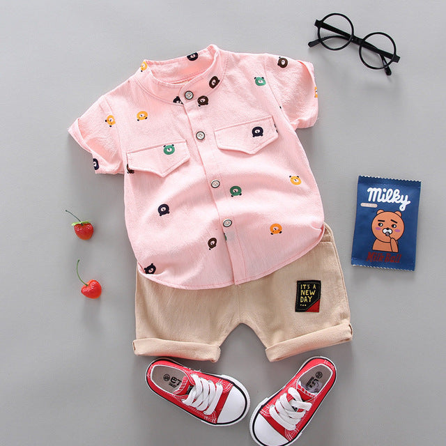 Baby Boys Cartoon Pattern Shirt & Shorts