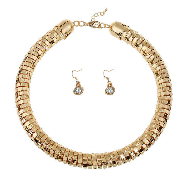 Fashion Jewelry Sets Hip Hop Short Circle Choker Necklace Women Wedding Bridal African Beads Jewelry Set