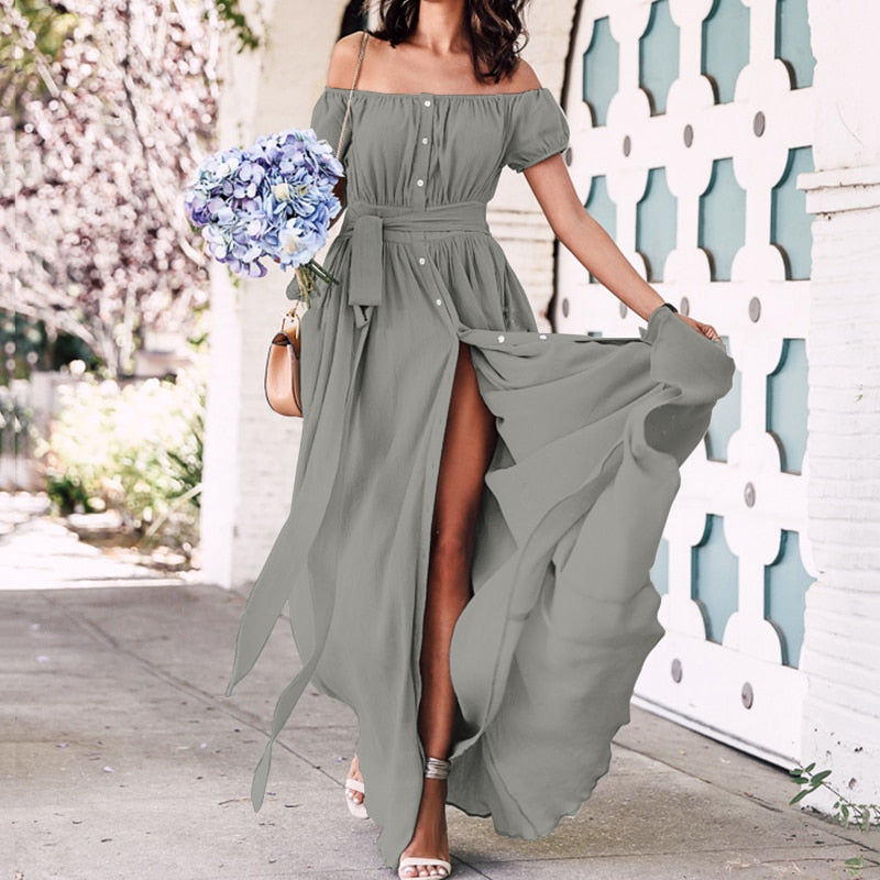 Plus Size Sexy Off Shoulder Maxi Long Dress Women 2020 Celmia Solid Casual Loose Buttons Ruffle Split Dress Summer Vestidos Belt
